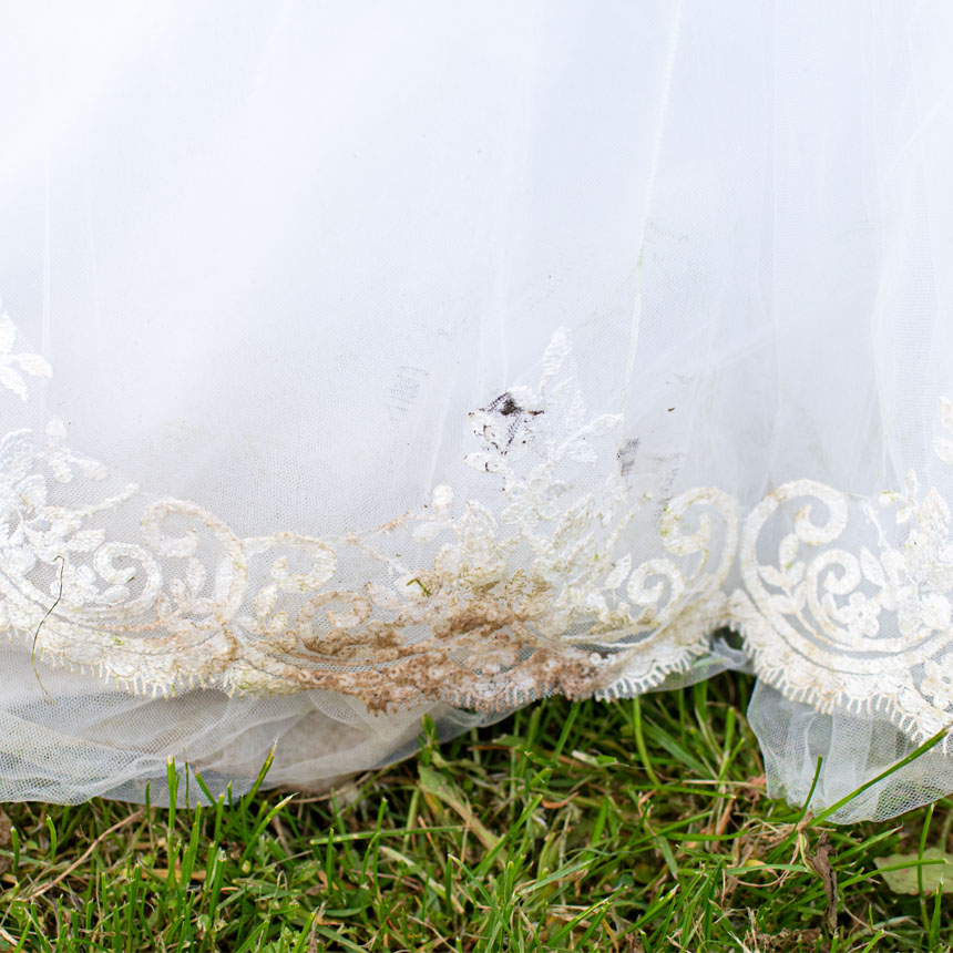 Dirt stain on a wedding dress
