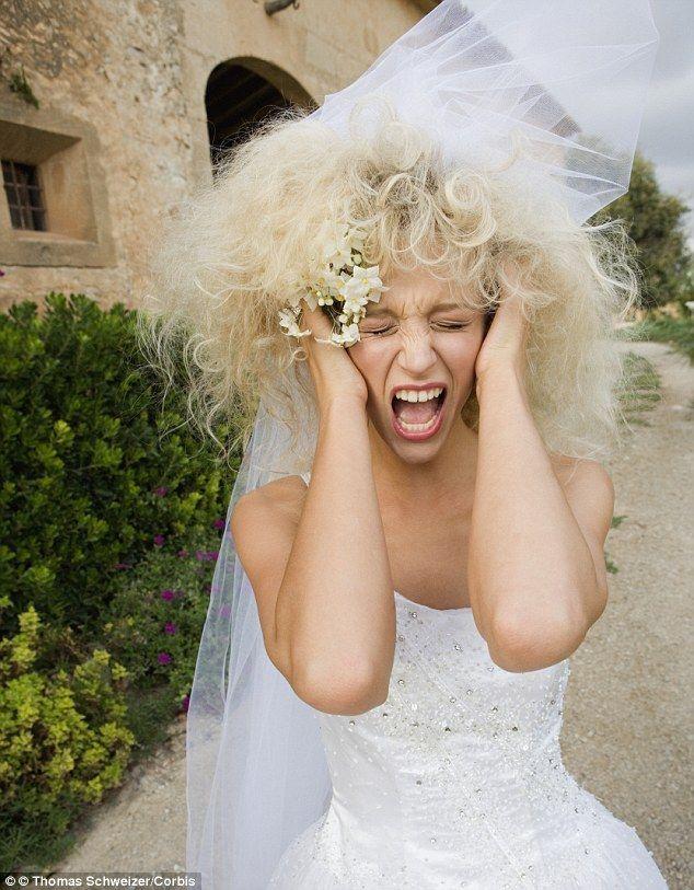 Bride's tangled hair