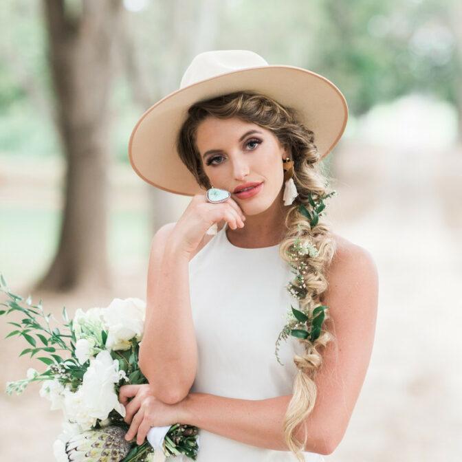 Summer bride with waterfall braid