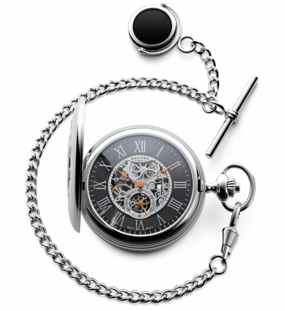 Dalvey Half Hunter Skeletal pocket watch