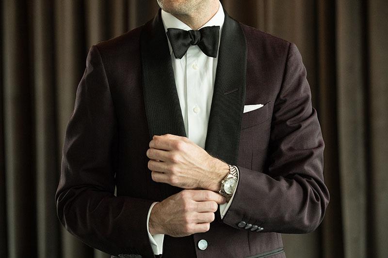 Groom wearing a watch