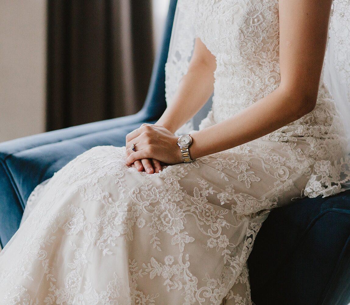 Bride wearing a watch