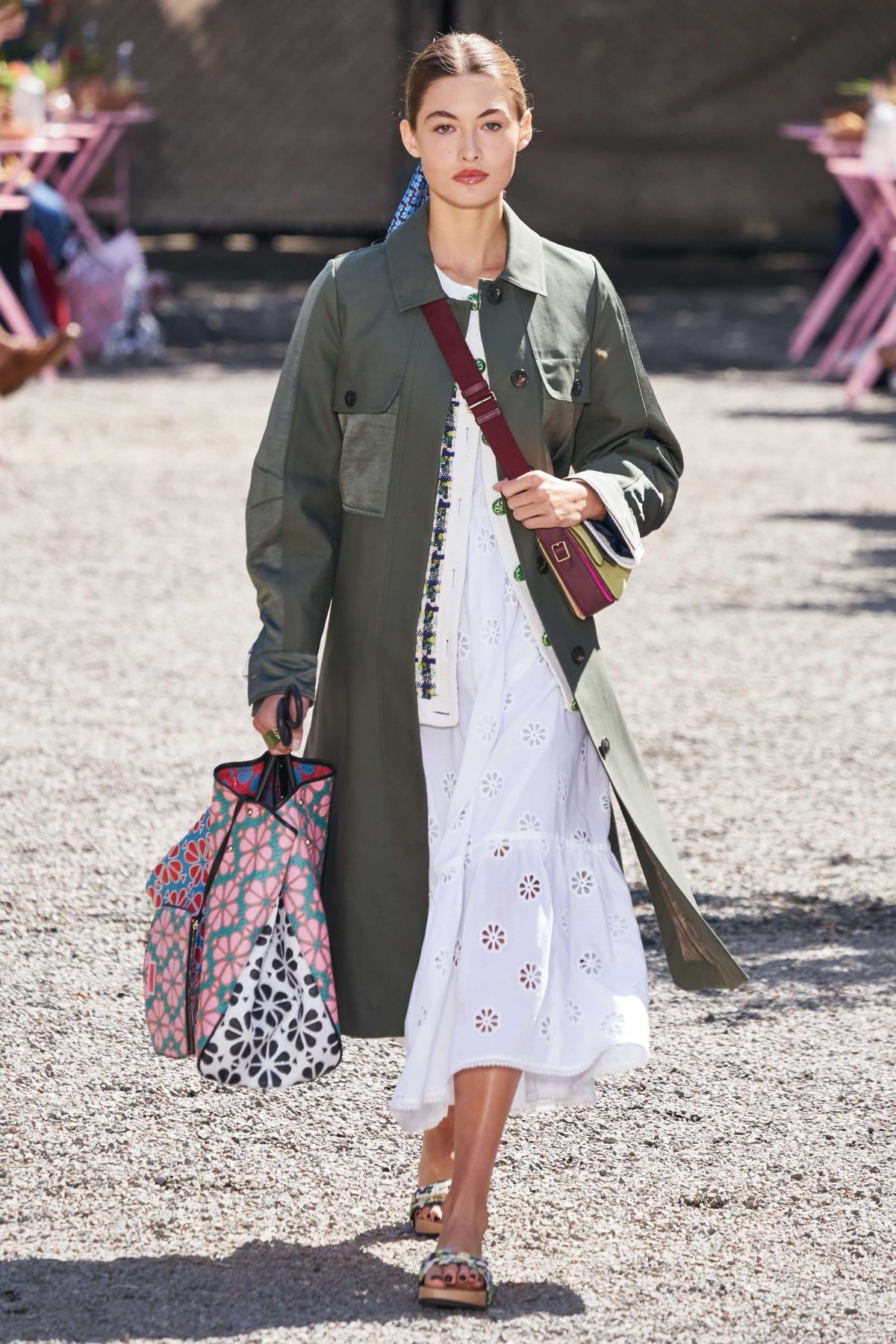 Kate Spade white flower dress with army green trench coat.