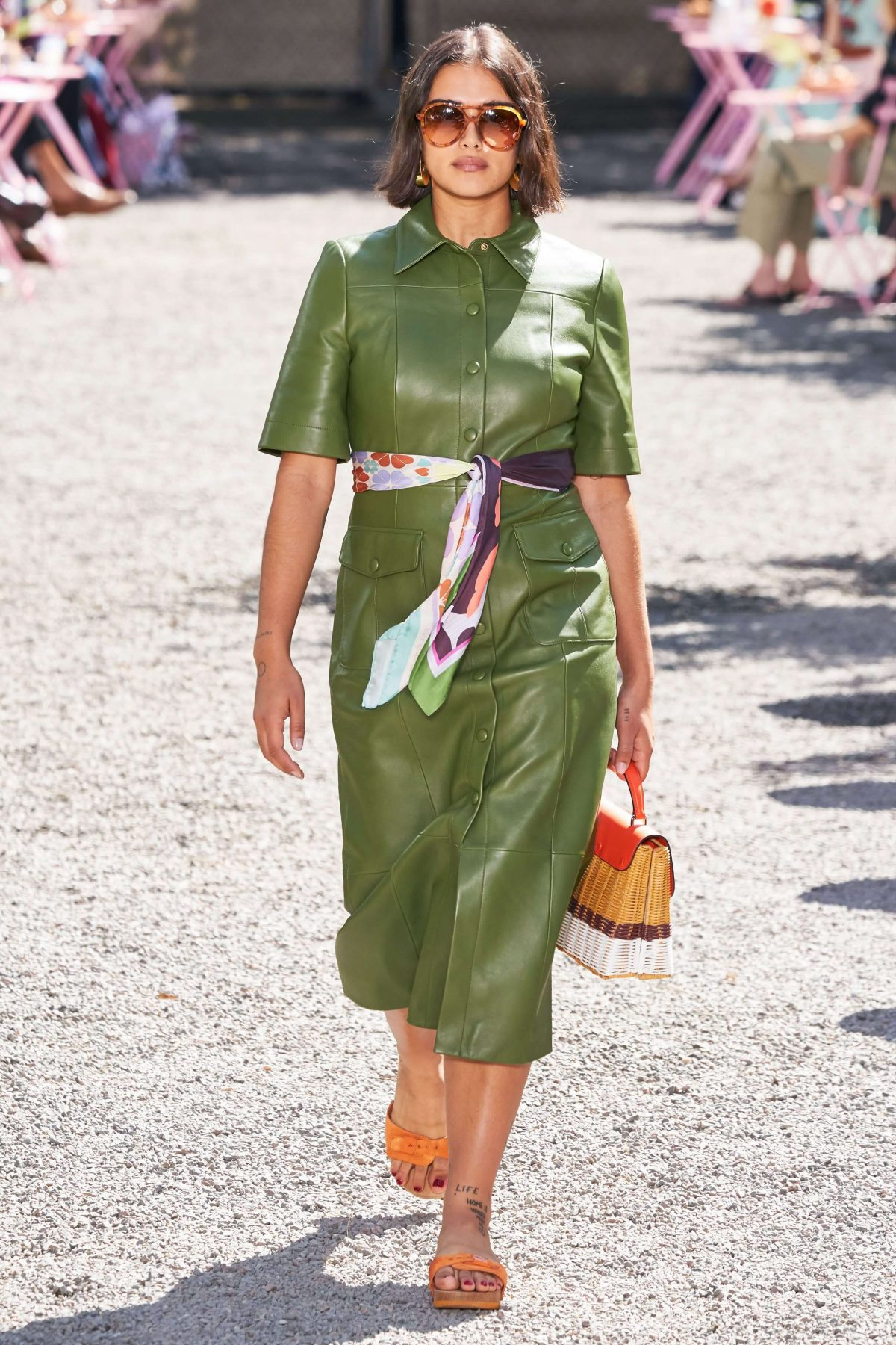 Kate Spade green leather dress.