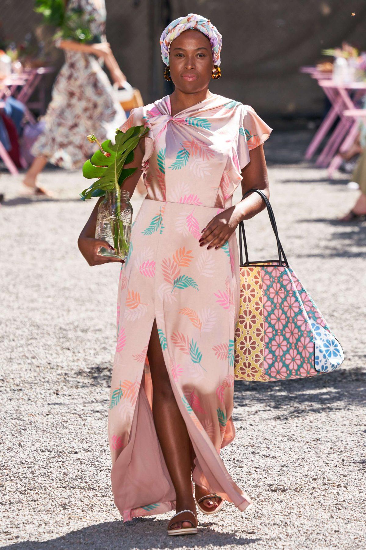 Kate Spade tropical satin dress.