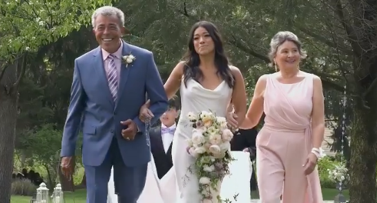 Actress Gina Rodriguez walking down the aisle