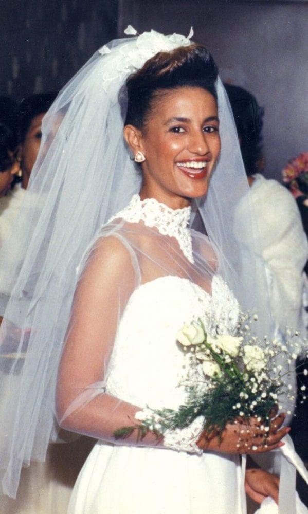 Amsale Aberra on her wedding day