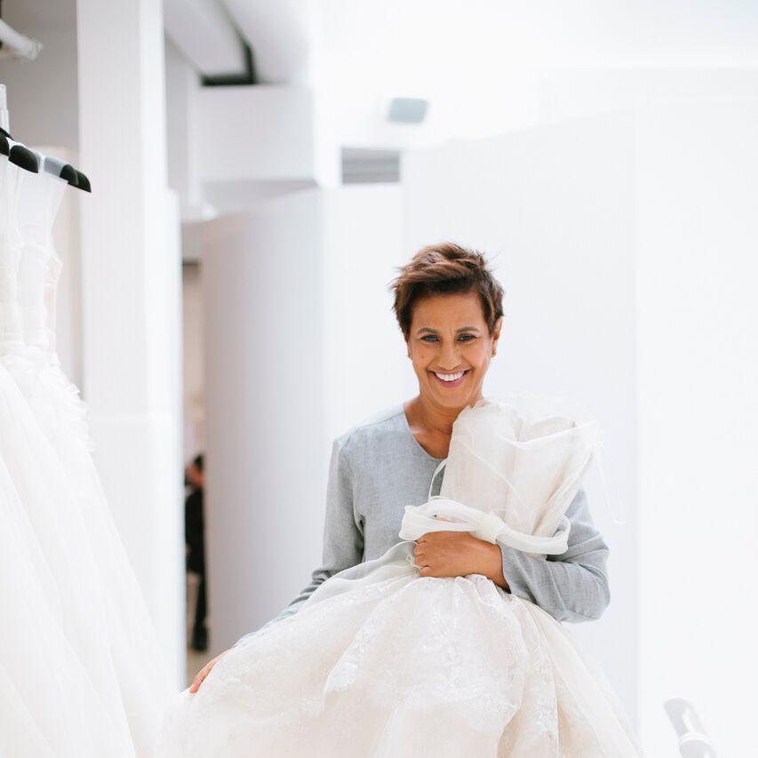 Amsale Aberra with her wedding gowns