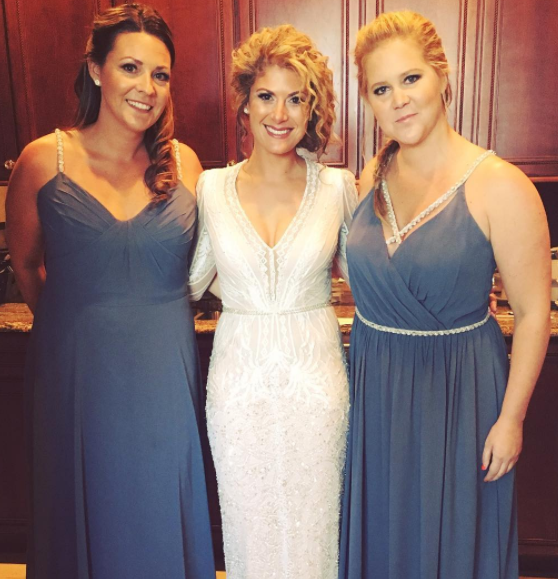 Amy Schumer wearing Hayley Paige Occasions