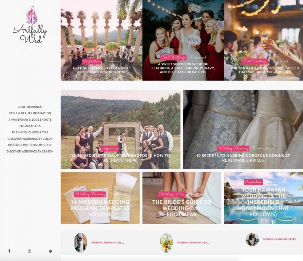 Artfully Wed's website