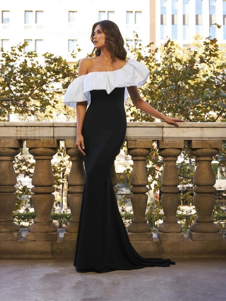 Asymmetrical black and white dress from the Pronovias cocktail collection