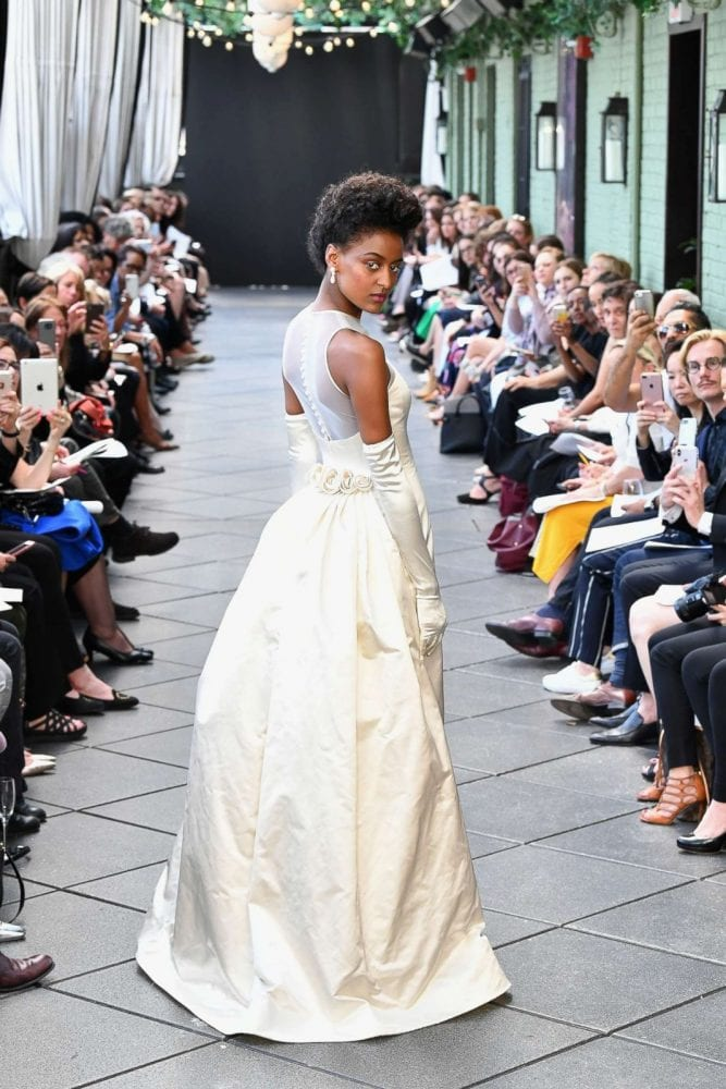 Back of Amsale's first wedding gown design at the Spring 2019 tribute show