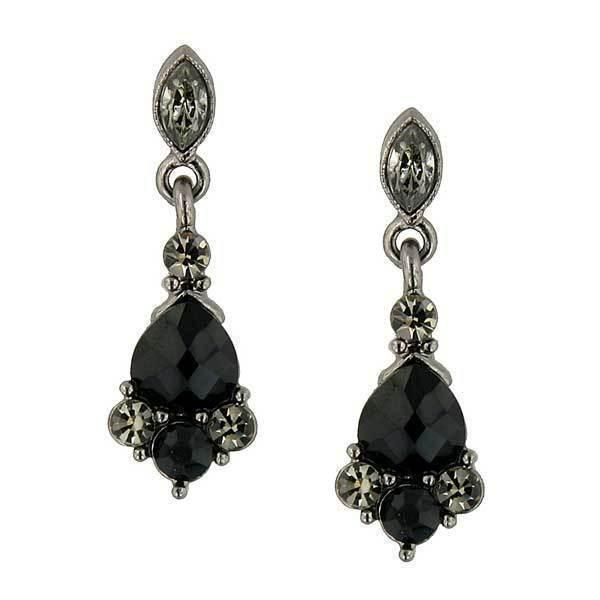 Black-tone marquise black and gray drop earrings