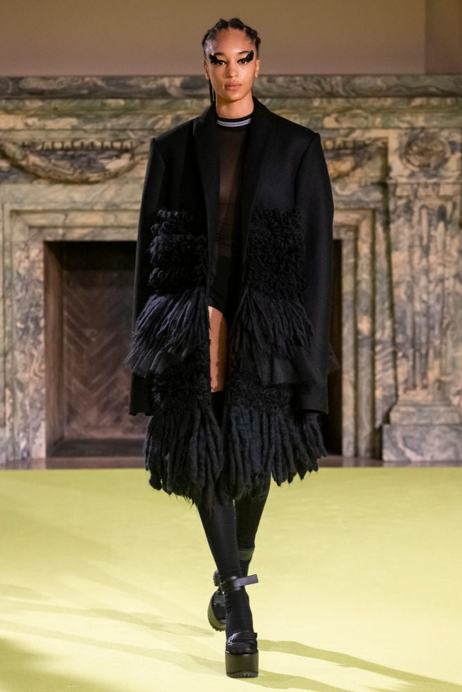Black wool oversized coat outfit from Vera Wang's Fall 2020 collection