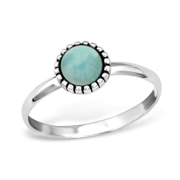 Blue circle amazonite silver gemstone ring