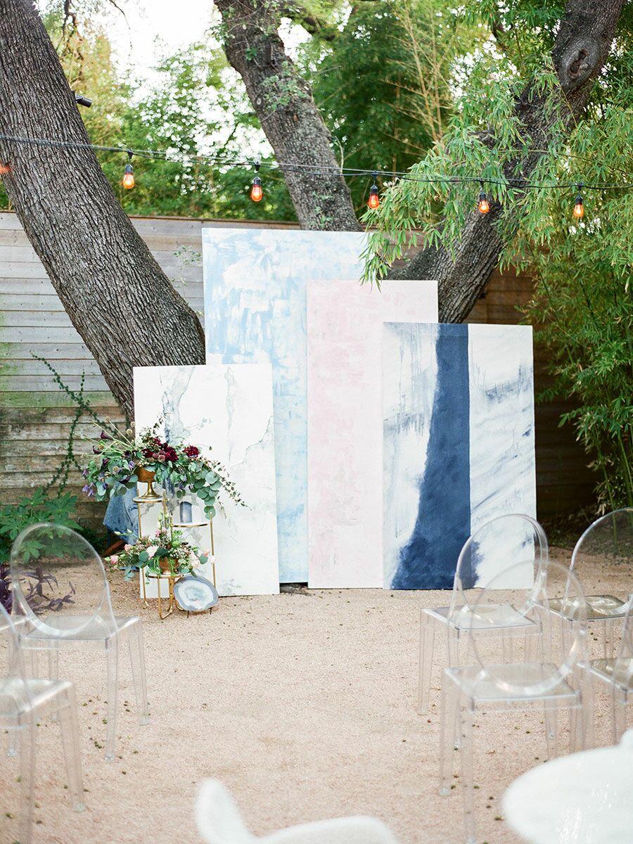 Blue watercolor ceremony backdrop
