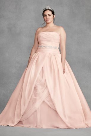 Blush organza wedding dress from White by Vera Wang collection