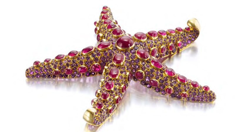 Boivin ruby and amethyst starfish brooch