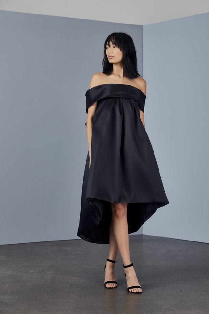 Bow back trapeze dress from Amsale's evening collection