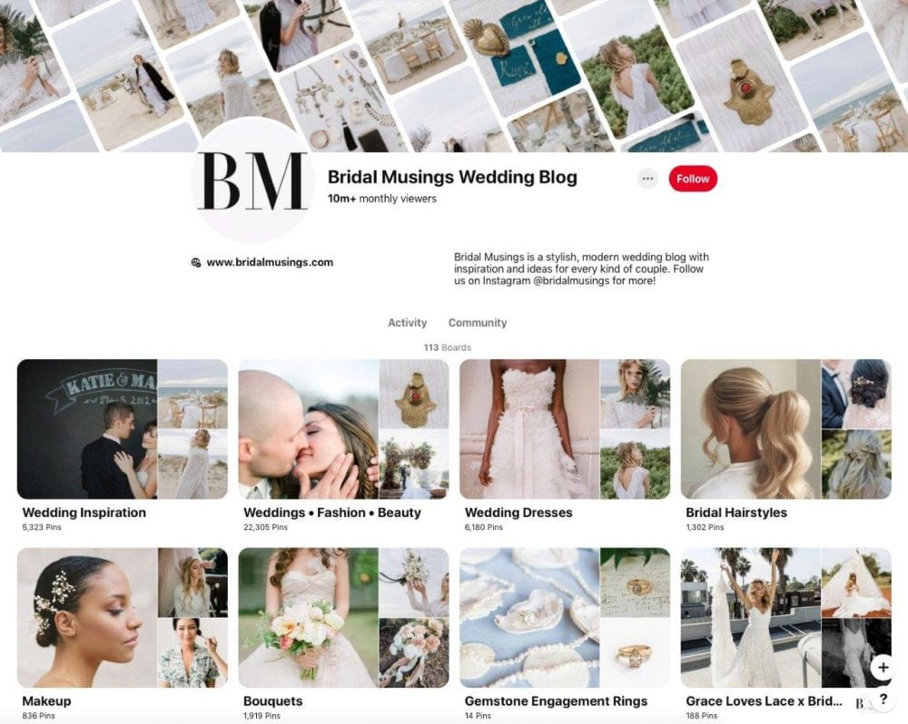 Bridal Musings' Pinterest