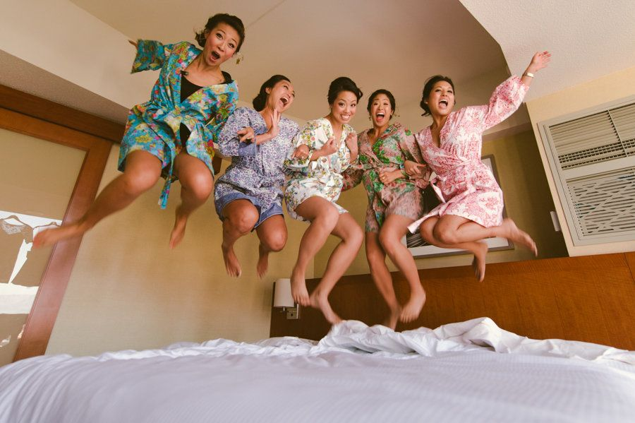 Bridesmaids Jumping On The Bed