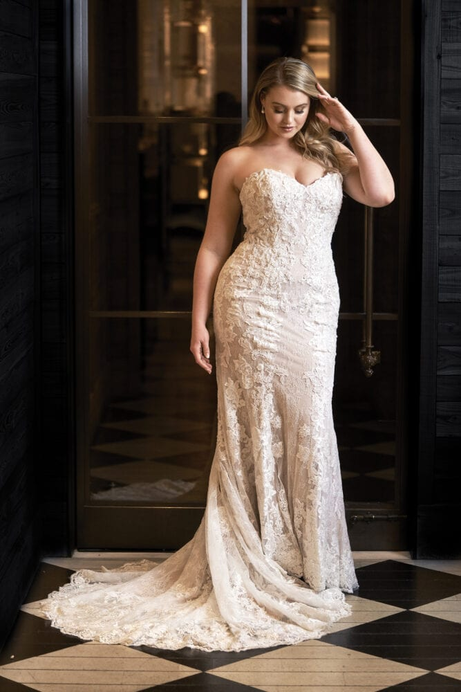 Chantilly lace fit and flare gown by Justin Alexander
