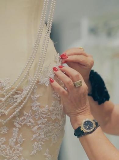 Close up detail of a wedding dress