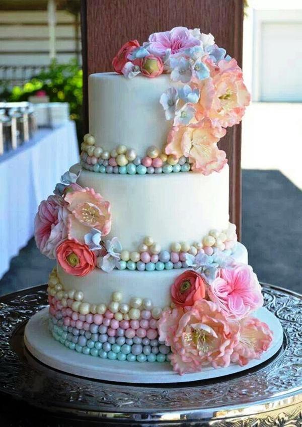 Rainbow pastel wedding cake
