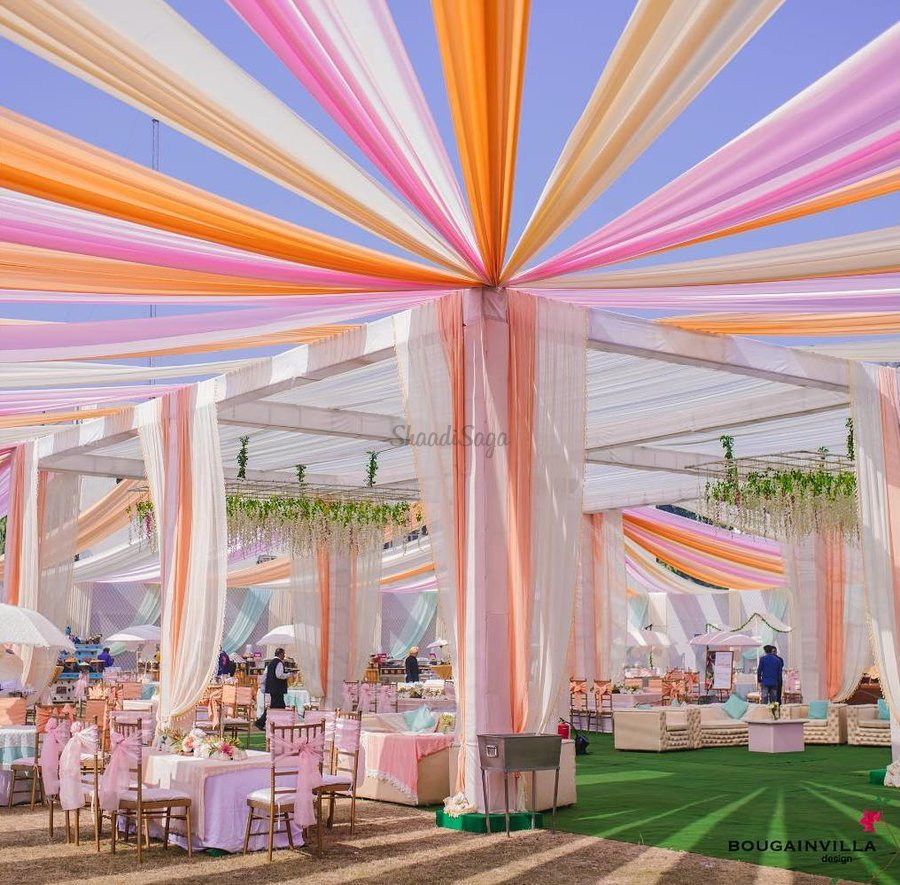 Colorful reception drapes