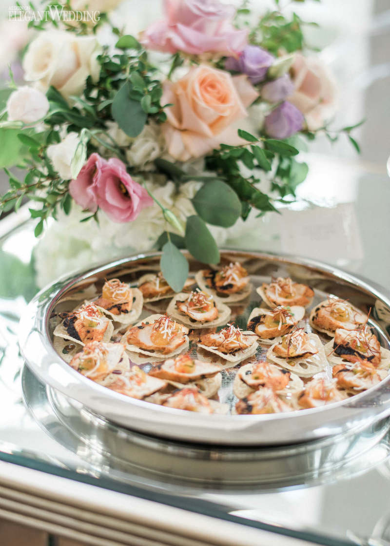 Coral-colored appetizers