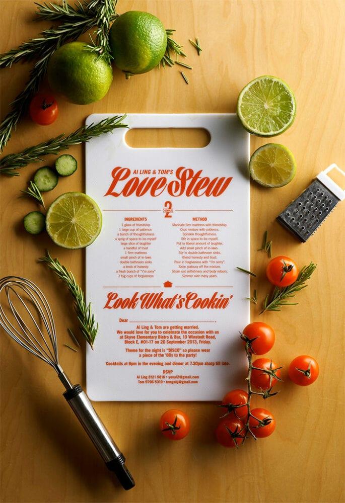Cutting board wedding invitation
