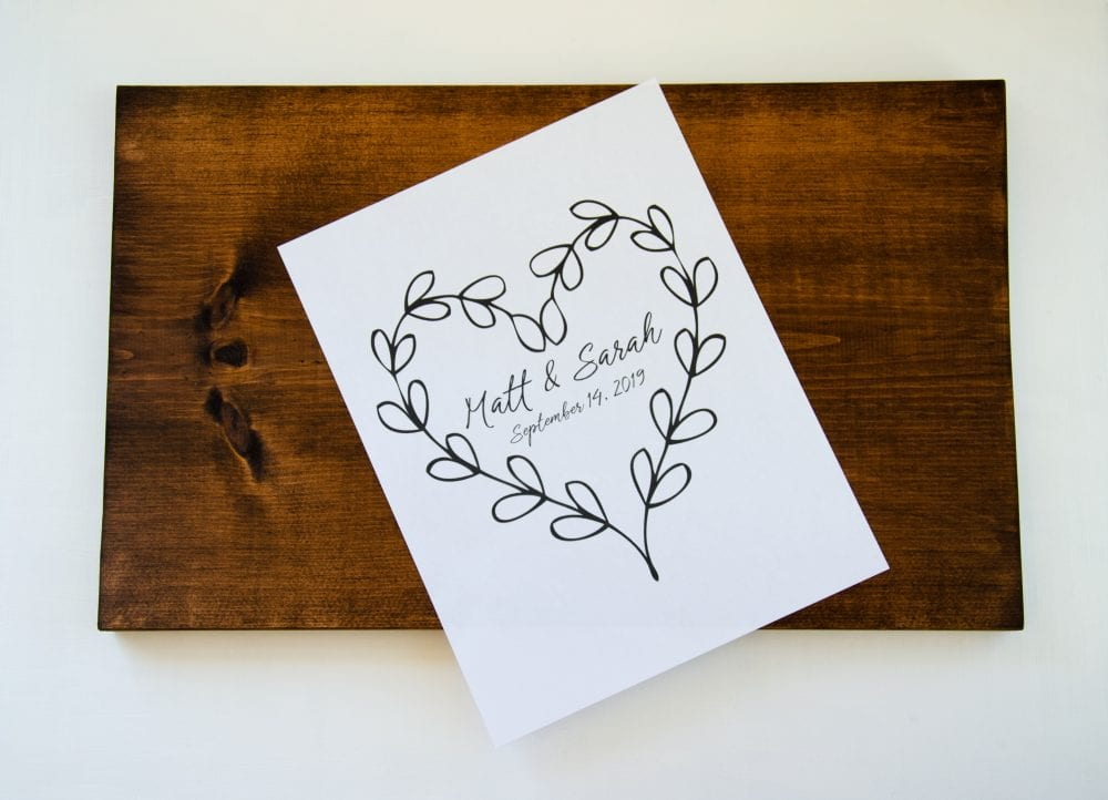 DIY Alternative Guest Book - add stencil to trace or imprint