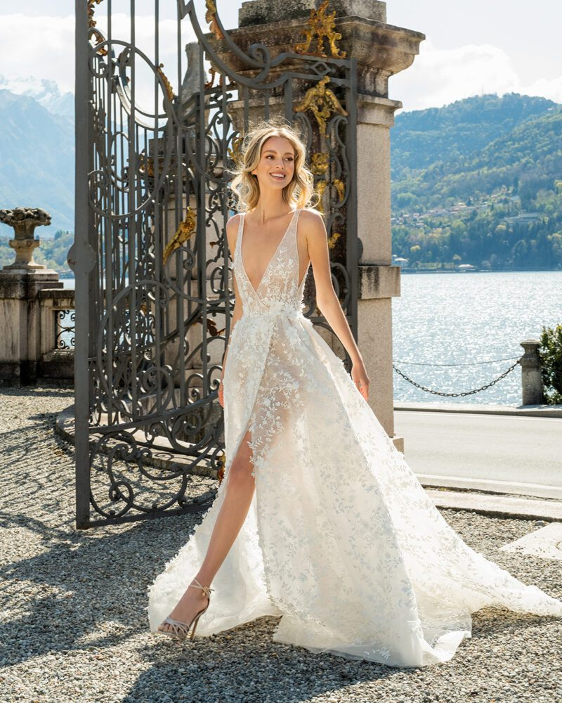 Deep v-neck gown from Berta's 2022 bridal collection