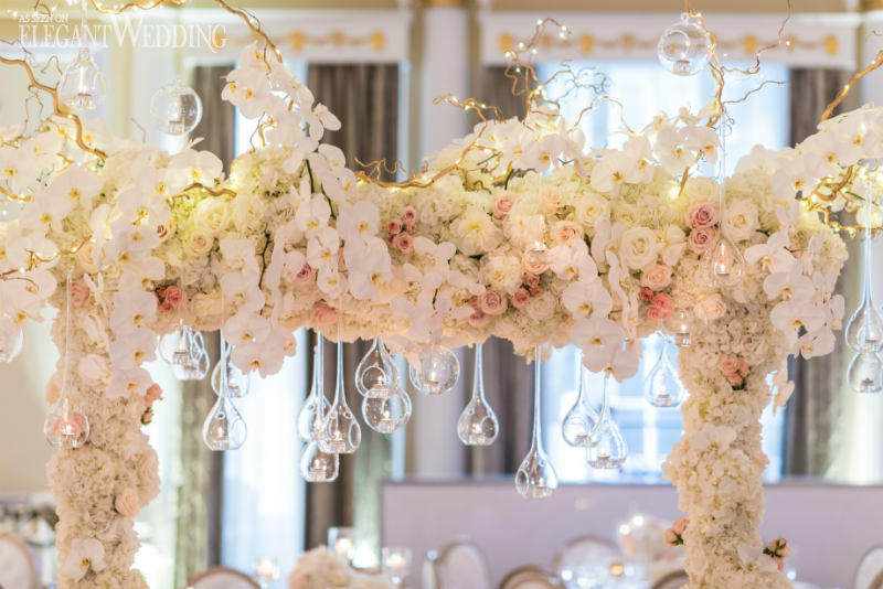 Pale pink & gold ceremony area