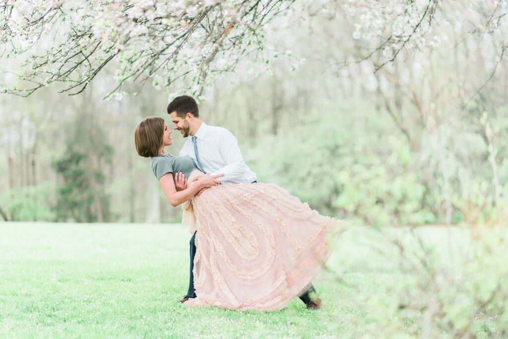 fairy tale engagement shoot dip pose