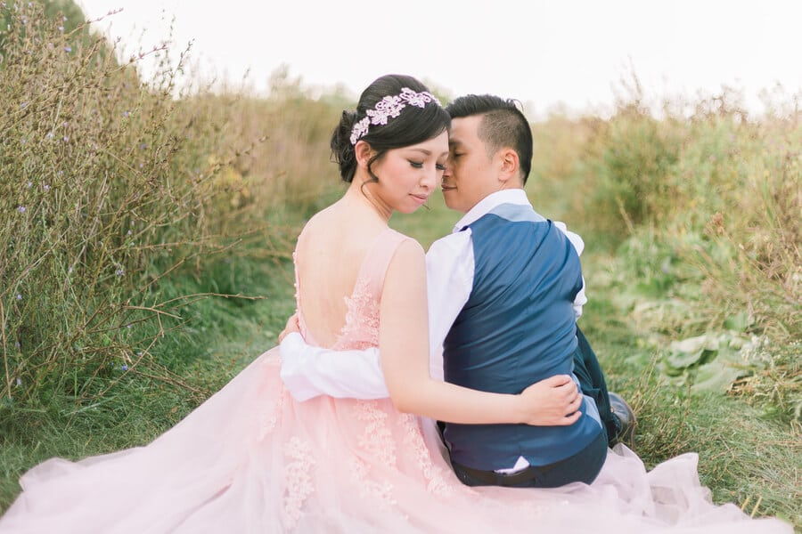 fairy tale woodland engagement shoot in a field