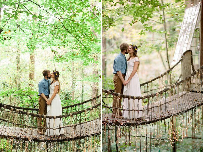 Fairy tale treehouse engagement shoot