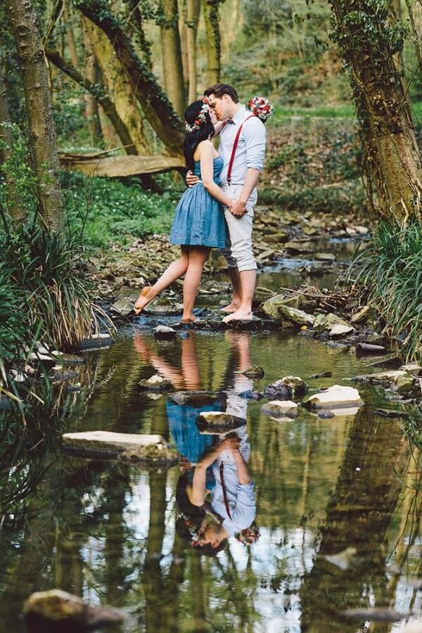 Creek fairy tale engagement shoot