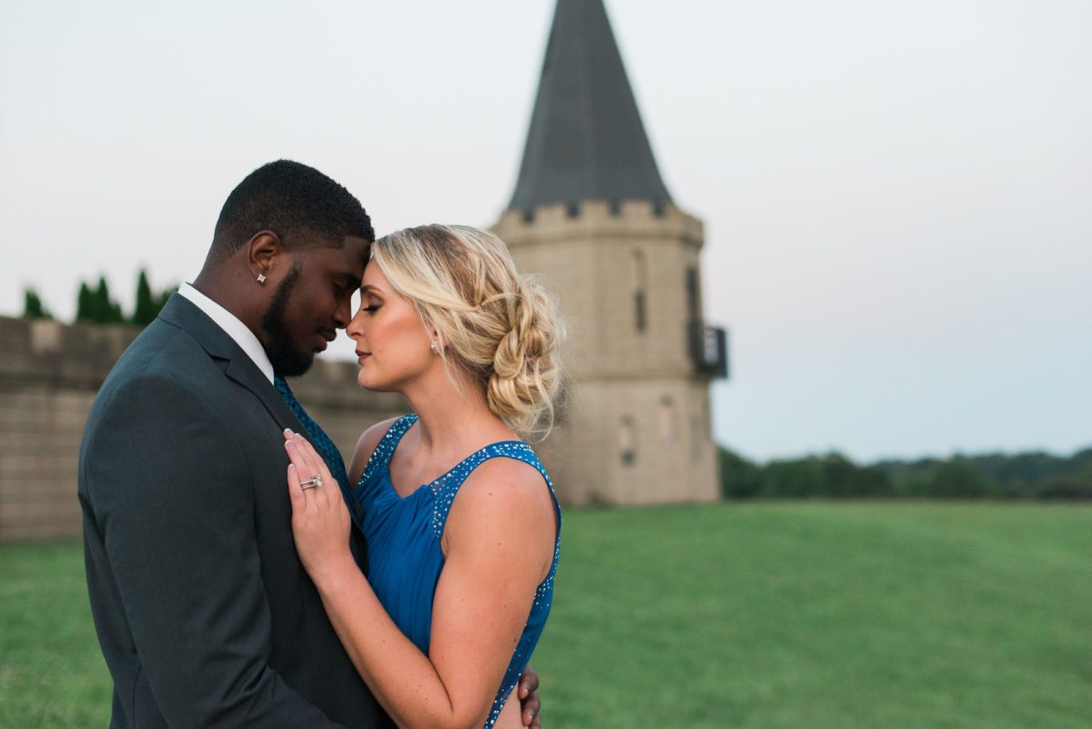 fairy tale engagement shoot in front of castle