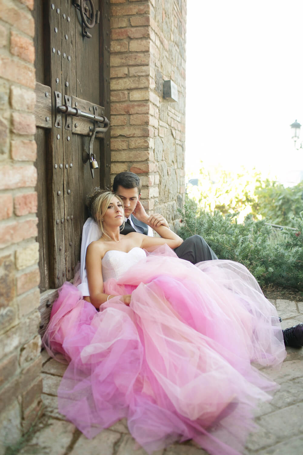 fairy tale engagement shoot with pink ball gown