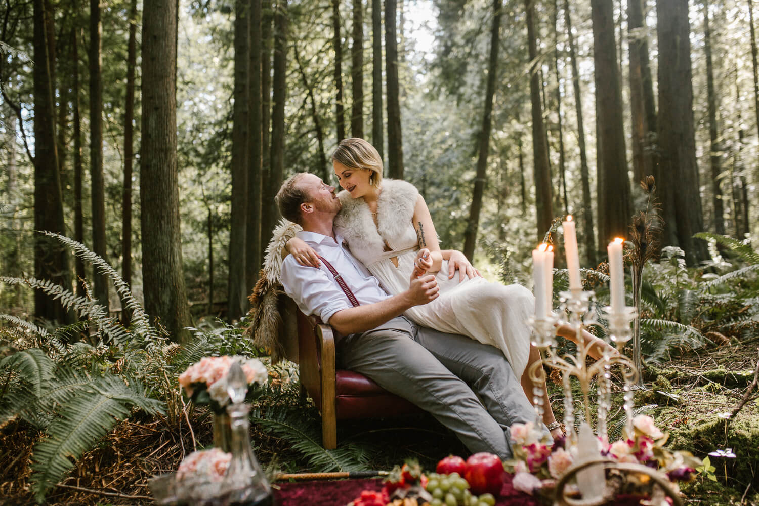 fairy tale forest feast engagement shoot