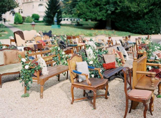Unique outdoor wedding seating