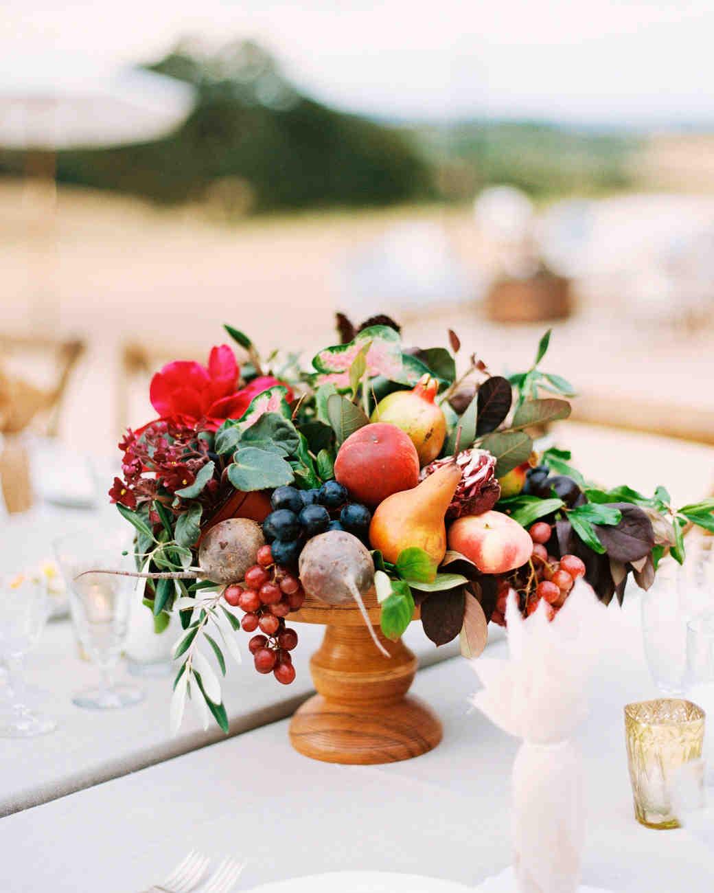 Fall fruit and veg centerpiece