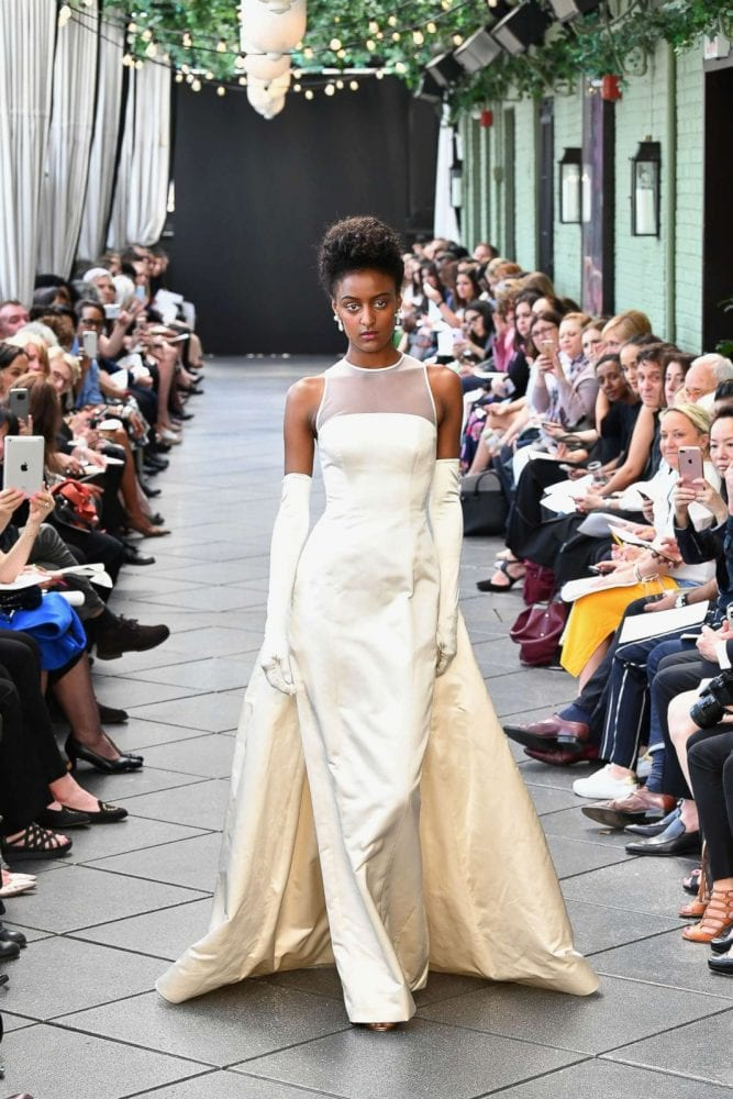 Front of Amsale's first wedding gown design at the Spring 2019 tribute show