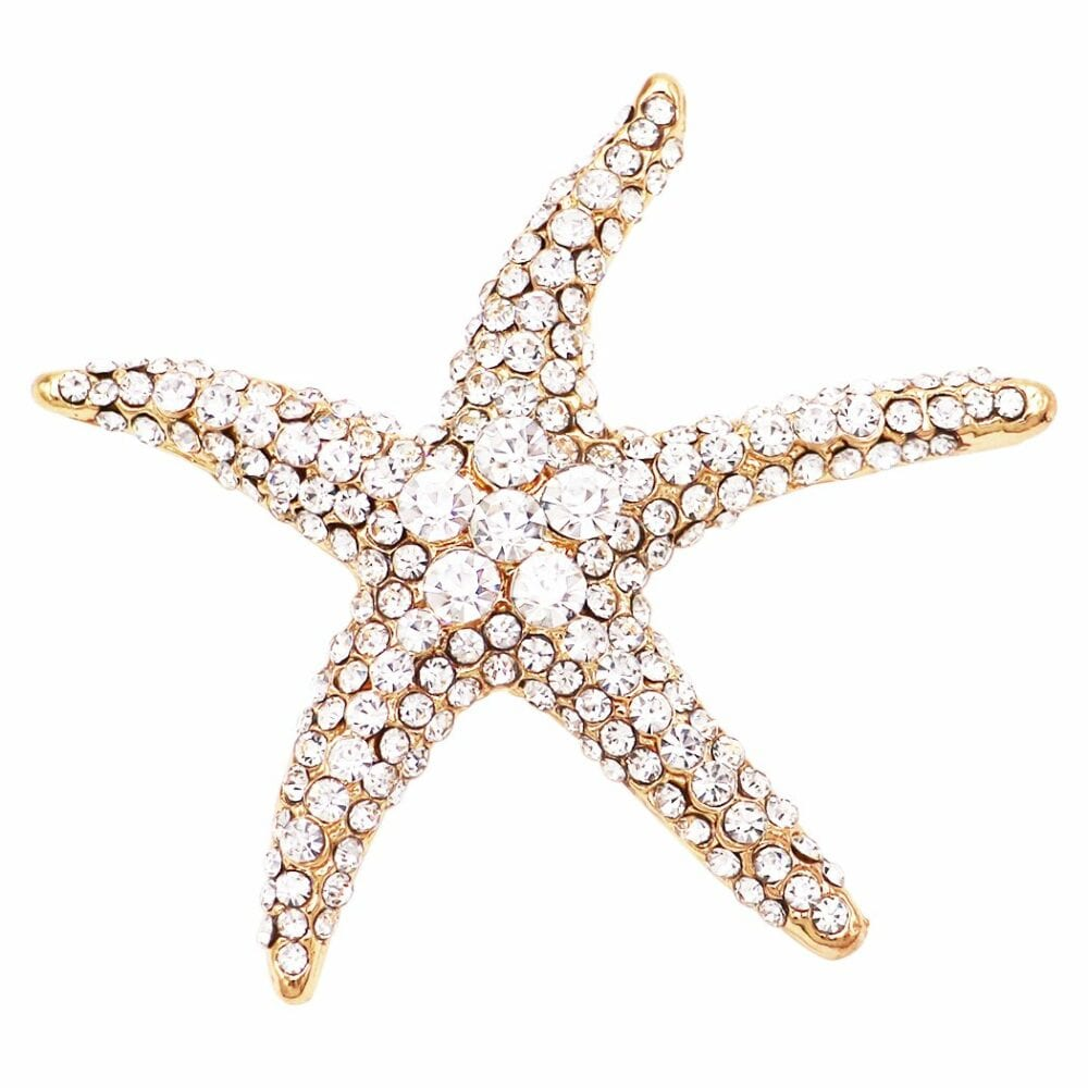 Glass crystal starfish brooch