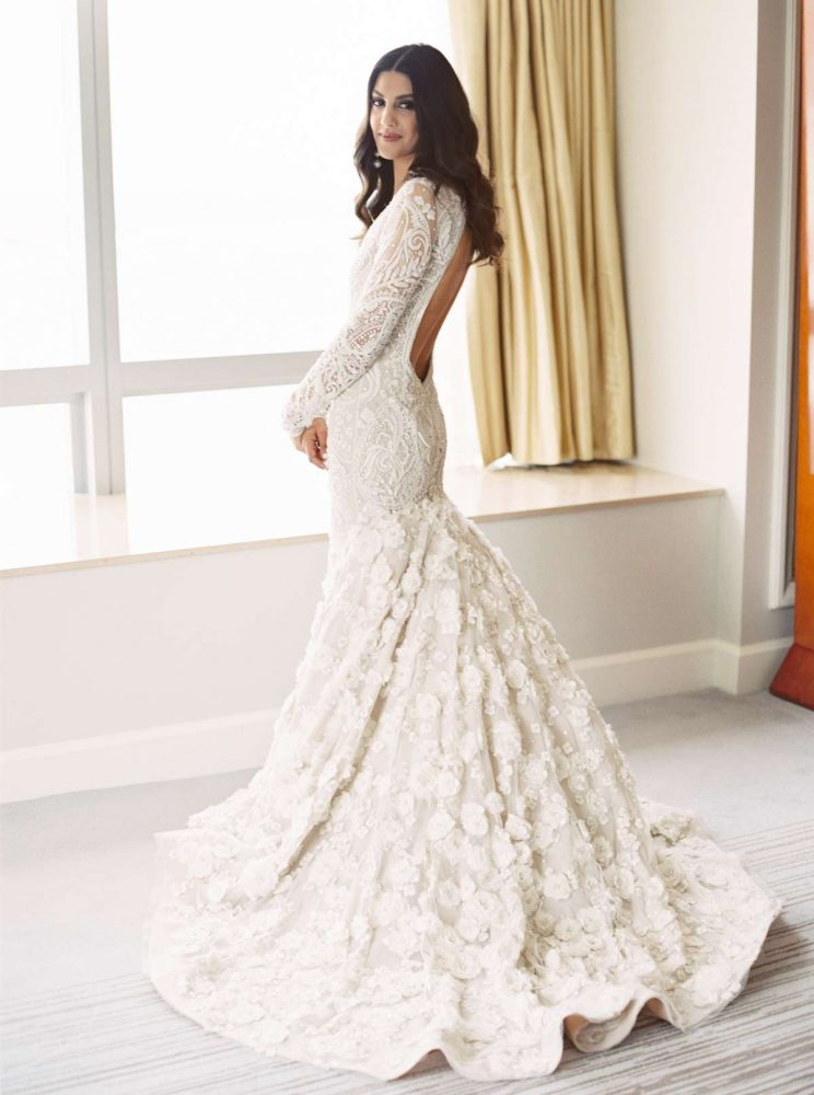 Haniya Riaz in custom Naeem Khan wedding dress