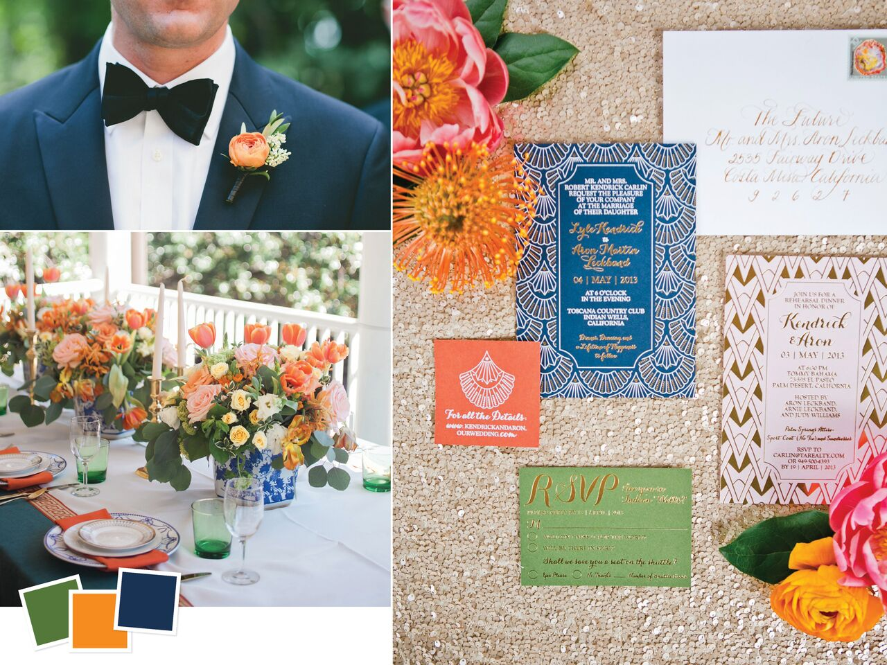 Hunter Green Orange and Navy Wedding