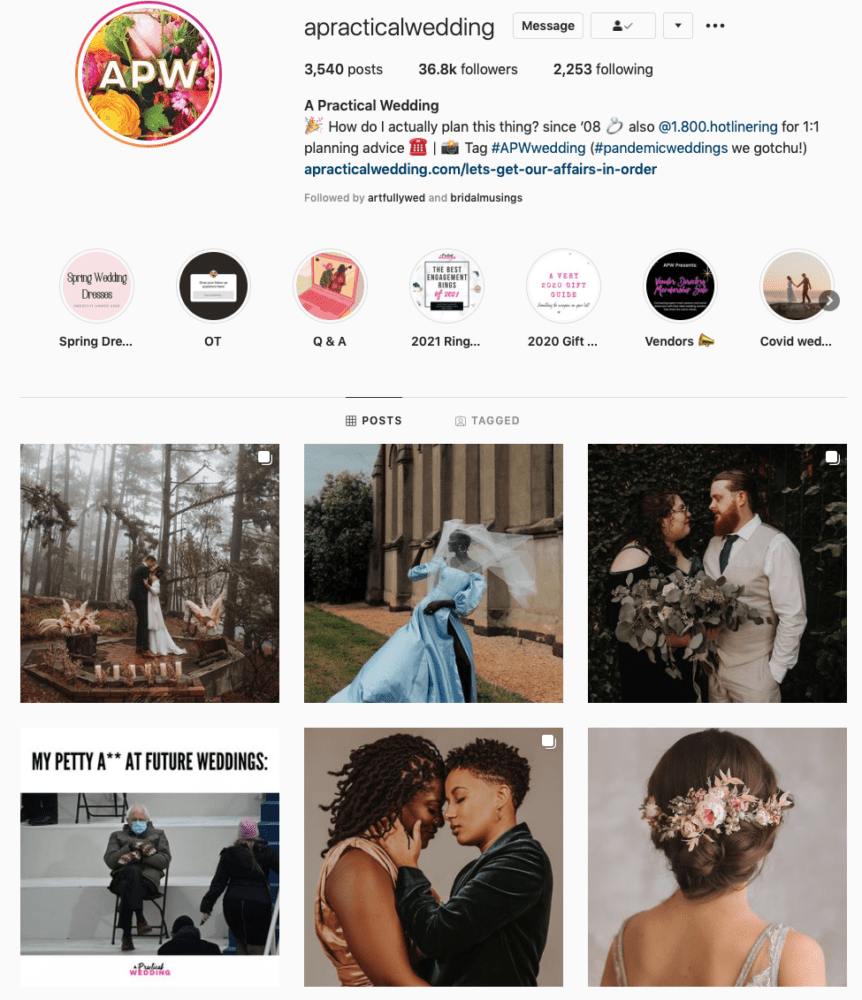 Instagram page of A Practical Wedding