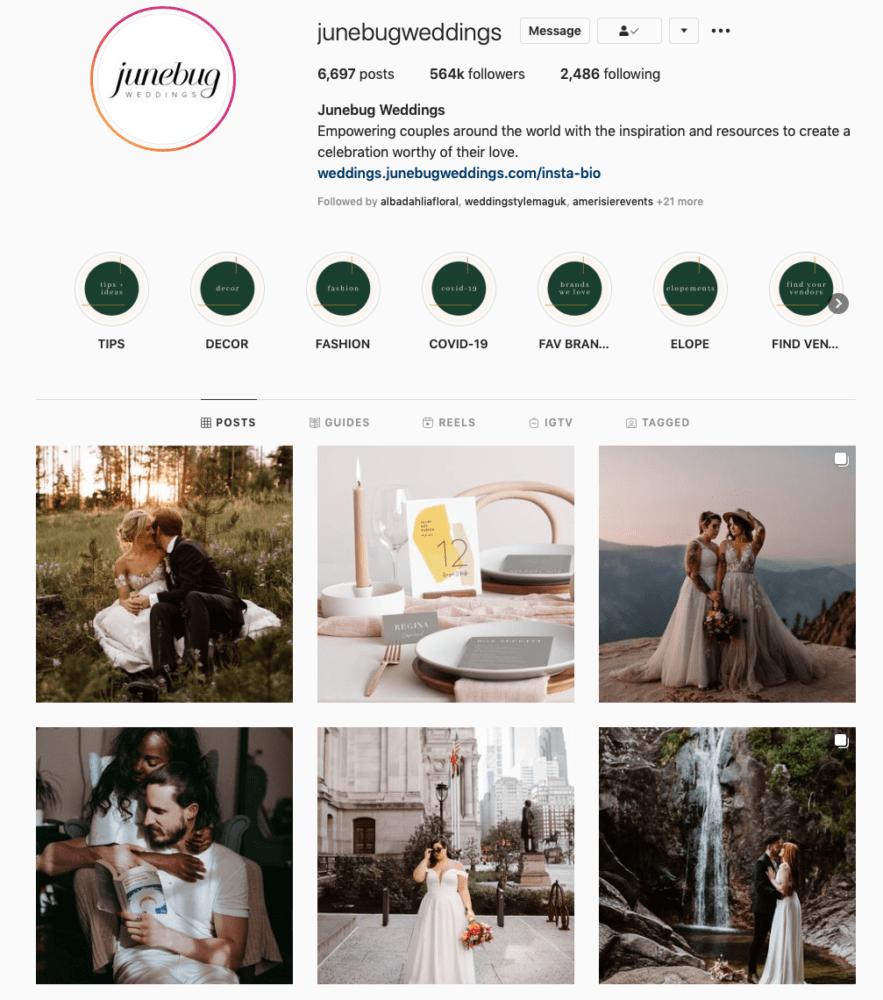 Instagram page of Junebug Weddings