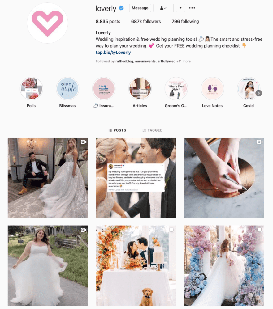 Instagram page of Loverly